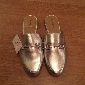 Silver metallic mules